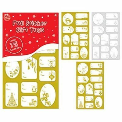 100x Gold Silver Foil Christmas Stickers Gift Tags Xmas Present Wrapping Labels