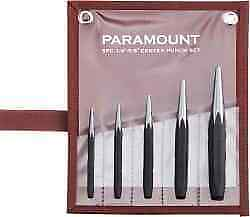 "Paramount 5 Piece Center Punch Set 3/32 to 1/4"", Comes in Canvas Roll"