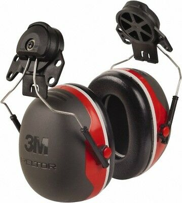 3M Hard Hat Cap Mounted, 25 NRR, Black Earmuffs Behind the Neck, Over the Hea...
