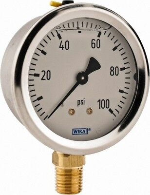"Wika 2-1/2"" Dial, 1/4 Thread, 0-100 Scale Range, Pressure Gauge Lower Connect..."
