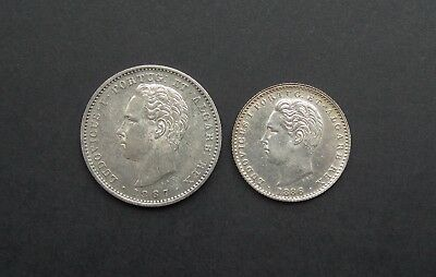 Portugal Luis I 1887 200 Reis & 1886 100 Reis - Both Ef