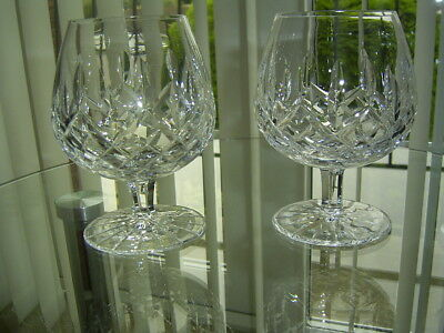 A Set Of 2 Waterford Crystal Lismore Brandy Balloons Glasses Signed