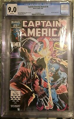 Captain America Annual #8 CGC 9.0 Classic Cover! Wolverine App! White Pages!