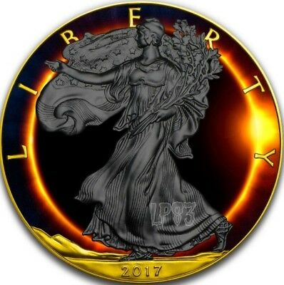 2017 1 Oz Silver Walking TOTAL ECLIPSE OF THE SUN Coin - Ruthenium And 24K GOLD.