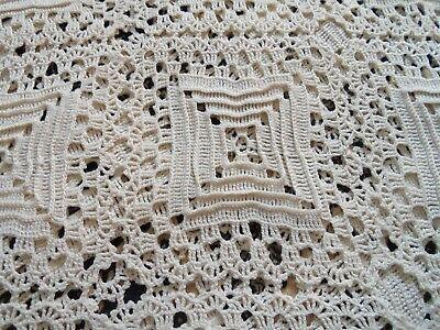 "Antique Hand Crochet Large Bedspread-Coverlet- 86"" X 102"""