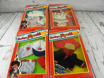 Vtg Monchhichi Boutique Outfit Lot of 4 In Original Packaging appear Unused