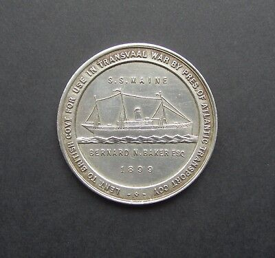 Transvaal War 1899 S.s Maine Hospital Ship Fund White Metal Medal - Eimer 1831