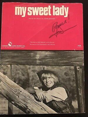 John Denver Autograph Signed My Sweet Lady Sheet Music