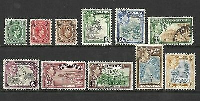 Jamaica - KGVI stamps - Values up to 5s - Used