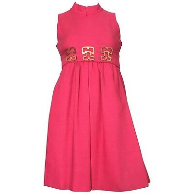 Donald Brooks 1970s VINTAGE Pink Linen Sleeveless Dress Size 4. MUSEUM PIECE.