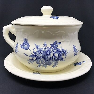 Antique Lidded Chamber Pot & Plate Blue White Ivory Floral Transferware Athena