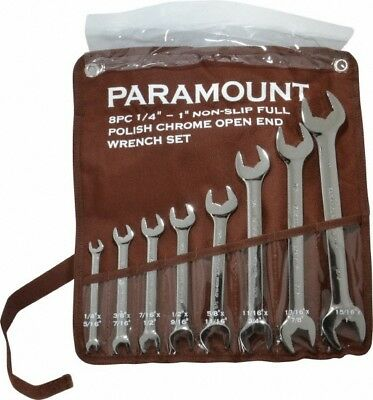 """Paramount 8 Piece, 1/4 to 1"""" Open End Wrench Set Inch Measurement Standard, F..."""