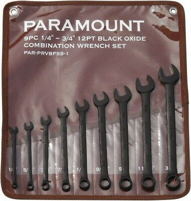"""Paramount 9 Piece, 1/4 to 3/4"""", 12 Point Combination Wrench Set Inch Measurem..."""