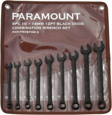 Paramount 9 Piece, 10 to 18mm, 12 Point Combination Wrench Set Metric Measure...