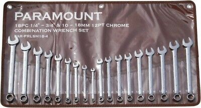 """Paramount 18 Piece, 1/4 to 3/4"""", 10 to 18mm, 12 Point Combination Wrench Set ..."""
