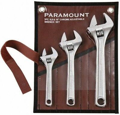"""Paramount 3 Piece, 6 to 10"""" Adjustable Wrench Set Inch Measurement Standard, ..."""