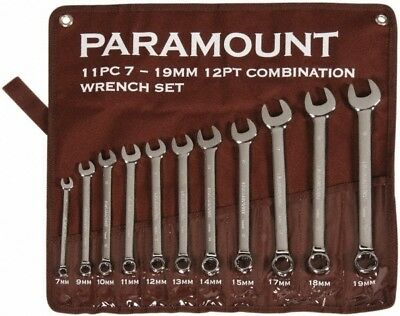 Paramount 11 Piece, 7 to 19mm, 12 Point Combination Wrench Set Metric Measure...