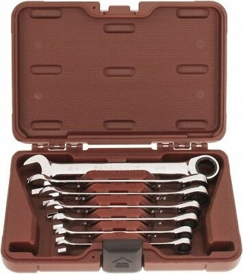 """Paramount 7 Piece, 3/8 to 3/4"""" Ratcheting Combination Wrench Set Inch Measure..."""