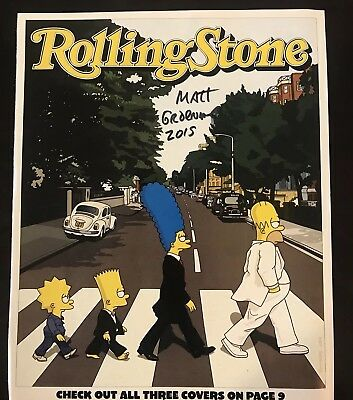 Matt Groening Autograph Signed The Simpsons Rolling Ston magazine Cut page HOMER