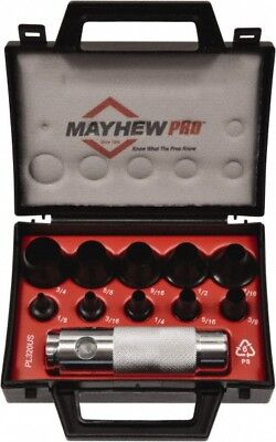 "Mayhew 11 Piece Hollow Punch Set 1/8 to 3/4"" Round Shank, Comes in Plastic Case"
