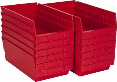 "Akro-Mils 11-5/8"" Deep, Red Hopper Shelf Bin 4"" High x 6-5/8"" Wide x 11-5/8"" ..."
