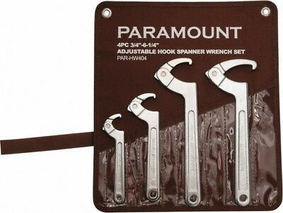 """Paramount 3/4"""" to 6-1/4"""" Capacity, Adjustable Hook Spanner Wrench Set 6-3/8"""" OAL"""