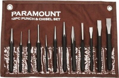 "Paramount 12 Piece Center, Pin & Starting Punch & Chisel Set 13/64 to 1/2"" Ch..."