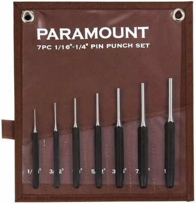 "Paramount 7 Piece Pin Punch Set 1/16 to 1/4"" Hexagon Shank, Comes in Canvas Roll"