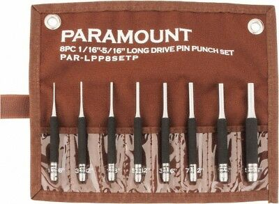 "Paramount 8 Piece Pin Punch Set 1/16 to 5/16"" Round Shank, Comes in Canvas Roll"