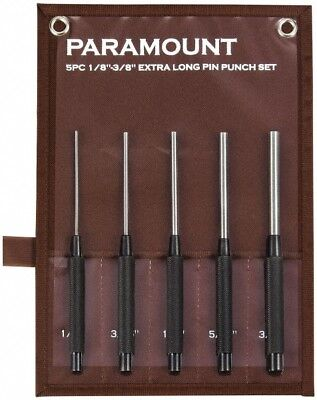 "Paramount 5 Piece Pin Punch Set 1/8 to 3/8"" Round Shank, Comes in Canvas Roll"