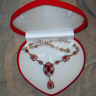 """Beautiful Ornate Drop Pendant Ruby and Crystal Necklace Handmade 20"""""""