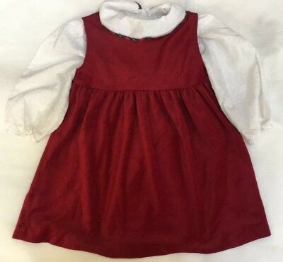 Baby Girls Mothercare Age 12-18 Vintage Red White Tartan Velvet Christmas Party