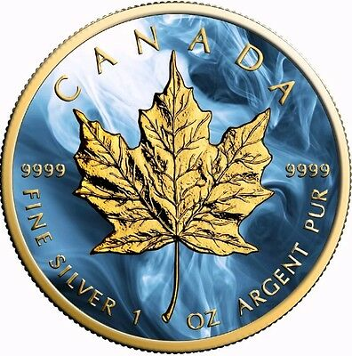 2017 1 Oz Silver Maple Leaf BLUE MAGIC Coin.- With 24K Gold Gilded,BOX AND COA.
