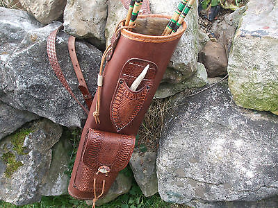 Broadhead Knife Leather Back Quiver / Archery 3 Point Harness