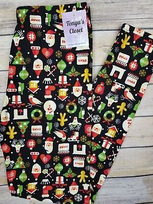 New 2017 Christmas Holiday Leggings Santa Candy Cane Gingerbread ONE SIZE OS