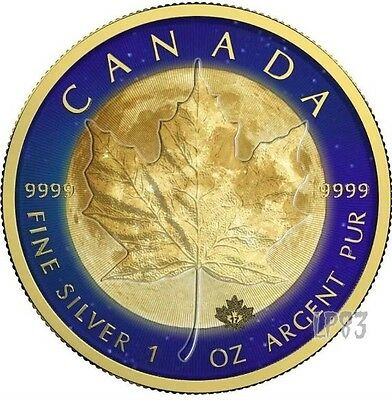 2017 1 Oz Silver MAPLE LEAF MOON Coin WITH 24k Gold Gilded.