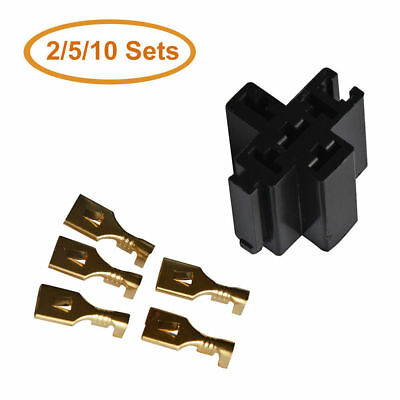 2/5/10Pcs 5-Pin Relay Socket for 30A/40A/60A Relay Connector w/ 5 Terminals Base