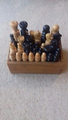 J.J. & SON VINTAGE CHESS SET ST GEORGE 'SPIRETOP' JAQUES? BOX COMPLETE KING 70mm