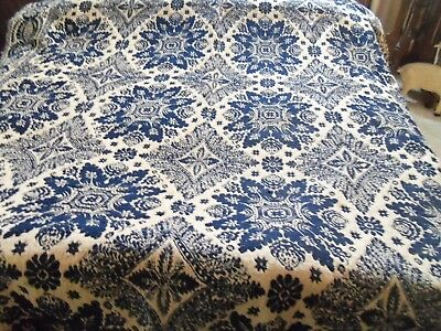 Antique Jacquard Linsey-Woolsey One Panel Coverlet-1800's