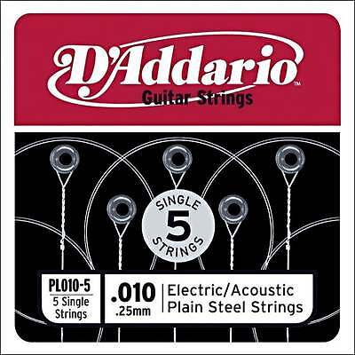 D'Addario 5x Plain Steel Guitar 'High E' Strings .010 for Electric & Acoustic