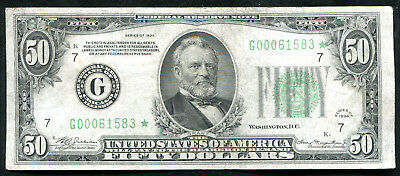 Fr. 2102-G* 1934 $50 Fifty Dollars *star* Frn Federal Reserve Note Chicago, Il