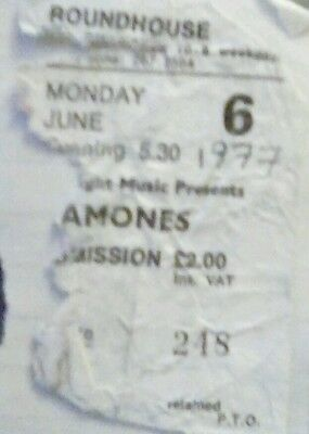 THE RAMONES used ticket THE ROUNDHOUSE , LONDON  - JUNE 1977