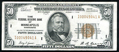 Fr. 1880-I 1929 $50 Frbn Federal Reserve Bank Note Minneapolis, Mn Xf