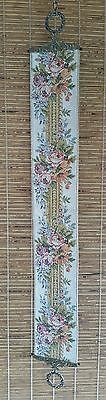 Victorian Style Floral Embroidered Tapestry 47-1/2in Bell Pull Door Knocker
