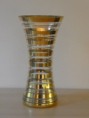 Mid Century Borske Sklo Union Gilded Glass Vase, Art Deco Influenced
