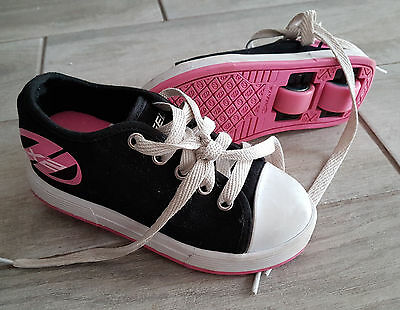 Girls Heeleys size 11 black and pink - hardly used