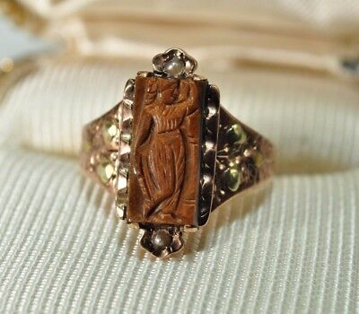 Antique 14K Rose Gold Carved Tiger's Eye Intaglio Seed Pearl Lady Cameo Ring