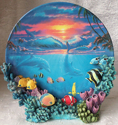 """""""Colors of the Sea"""" Anthony Jones Hamilton Plate w/ Stand Sealife at Sunset 889"""