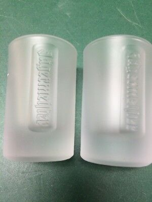 """Jagermeister Frosted Shot Glasses 2 CL  Heavy Glass 2.25"""" Set of 2"""