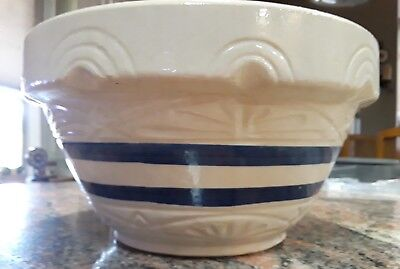 "Embossed Roseville Ohio Ransbottom 305-10 10"" Mixing Serving Bowl Blue Stripes"